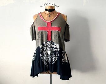 90's Grunge Clothing Rustic Art Shirt Open Shoulder Top Red Cross Tattered T-Shirt Loose Fit Casual Clothes Womens Eco Fashion L XL 'DEE DEE