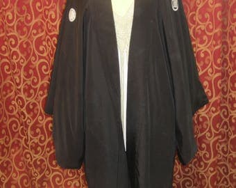 "1930's, 40"" chest, black silk short kimono, lined in printed foam green silk,"