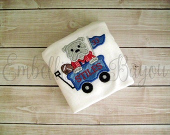 Bulldog with Football Wagon Appliqued T-shirt or Onesie for Boys or Girls Personalized