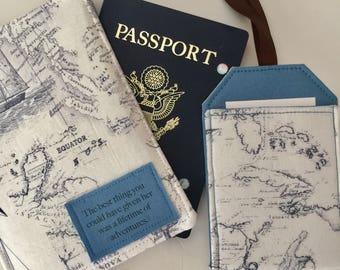 Passport Cover, Vintage Map Passport, The Best Thing, a Lifetime of Adventures, Passport Holder,  passport wallet, Adventure,  Passport Case