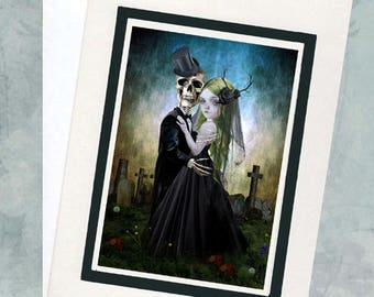 Gothic Romance Greeting Card - Skeleton Groom & Bride - Eternal Love