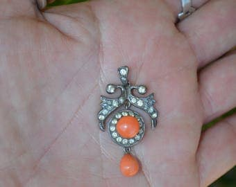 Victorian Sterling Silver Coral & Paste Pendant