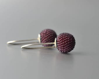 beaded globe dangle earrings bordeaux red