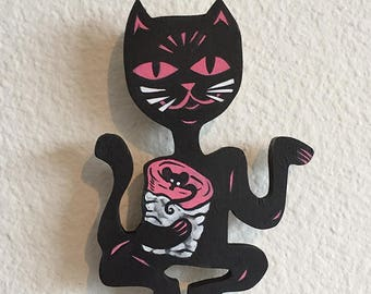 Black Cat Burrito Painted Cutout