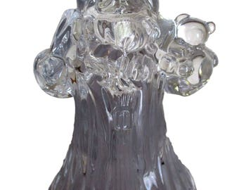 Vintage Clear Lead Crystal Glass Santa Claus Candle Holder Christmas Sculpture Figurine