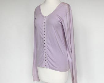 80's Violet Knit Shirt / Corset Style Hook & Eye Front / Moda Int'l / Small to Medium
