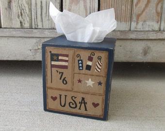 Primitive Americana Patriotic Hand Painted Independence Sampler Tissue Box Cover GCC6645