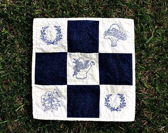 Bluework  Table Topper, Blue and White Machine Embroidered, Floral Bluework, Rustic Farmhouse Cottage Decor, Fabric Art Piece, One of a Kind