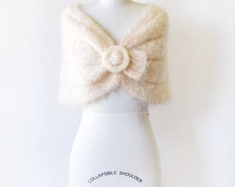 50s mohair wrap, vintage 1950s cream knit stole, mid century white shrug