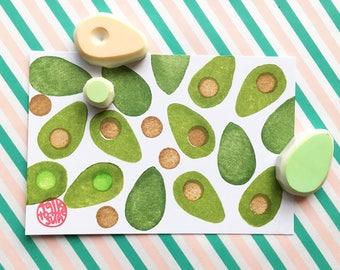 avocado rubber stamp set. avocado slice stamp. seed stamp. tropical fruit hand carved stamps. vegetable stamp. summer crafts. set of 3