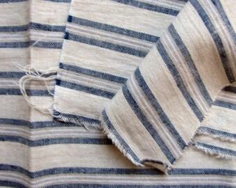 antique ticking fabric - blue linen mattress stripe material - circa 1900 1920s