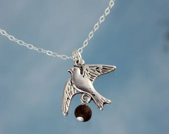 Coconut Laden Swallow Necklace- for Monty Python Holy Grail Fans- Silver tone bird charm, wood bead, sterling silver chain- free ship USA