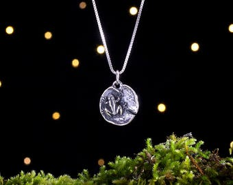 Sterling Silver Frog on a Lily Pad - (Pendant or Necklace)