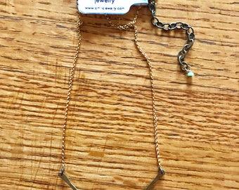 Hammered Brass V Necklace