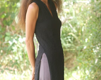 ASIAN maxi dress/ TUNIC-Womens sleeveless elegant maxi dress-maxi tunic-Made to order-Summer womens dress in black -Bridesmaid dress