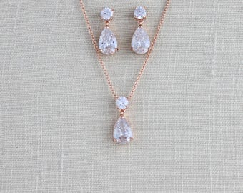 Bridesmaid jewelry, Rose gold necklace set, Dainty Bridal jewelry, Rose gold Bridal necklace, Wedding Jewelry set, CZ jewelry, Pink gold