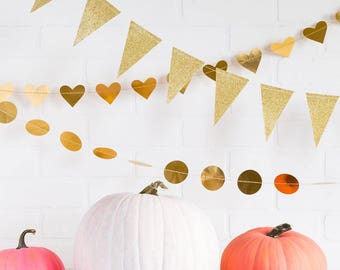 Gold Foil Mini Heart Banner | Gold Foil Heart Banner | Gold Foil Heart Garland | Gold heart Banner | Gold Banner |  Gold Heart Sewn Garland