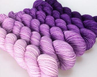 MAUVEINE Hand-dyed Gradient Sock Yarn Mini Skein Set - approx 500 yds (mill end)