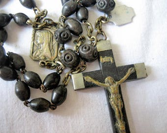 Antique silver, brass and black jet rosary, Antique French rosary, Antique Art Nouveau rosary, Antique black jet rosary, Antique chaplet