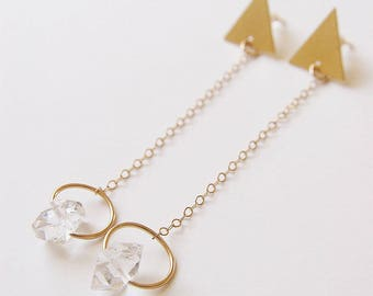 SALE Herkimer Diamond Triangle Gold Earrings