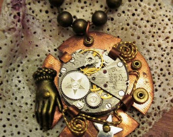 Steampunk watchworks mixed metal copper pendant