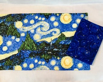 Starry Night Scene Placemat and Napkin Set Bright Blue Yellow Set Available