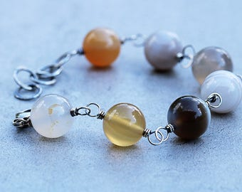 Agate Bracelet | Oxidized Finish | Beaded Bracelet | Gemstone Bracelet | Agate Jewelry | Stone Bracelet | Gray Jewelry Gift | Gift for Her