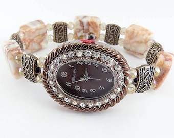 Redline Marble. Champagne Crystal and Copper Beaded Stretchy Bracelet Watch with Copper Aurora Borealis Watch Face