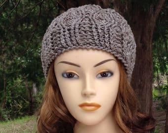 Gray Merino Wool Cable Winter Beanie