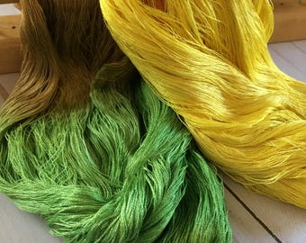 "100% Hand Dyed Mulberry Silk 60/2 Lace Weight Yarn, Weaving, Knitting, Crochet, ""Burnt Leaves"" Cobweb Lace"