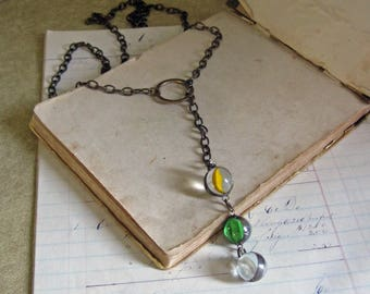 Vintage Glass Marble Long Necklace Recycled Jewelry Multi color