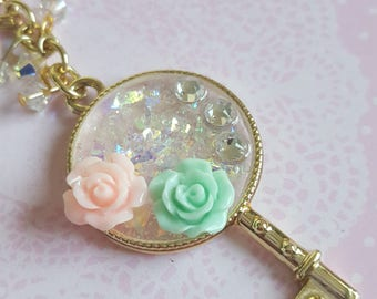Iridescence and Roses Charm - Planner Charm or Bag Charm