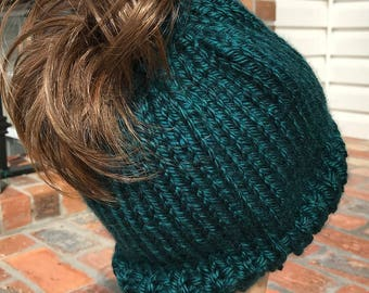 Knit Ponytail Hat - Knit Ponytail Beanie - Knit Ponytail Hat Teal