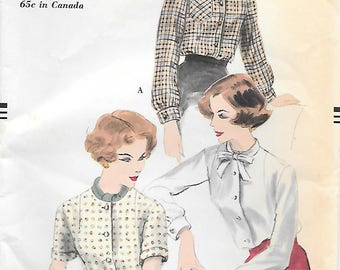 Vogue 9793 UNCUT 1950s Collarless Blouse with Long or Short Sleeves Vintage Sewing Pattern Size 14 Bust 34