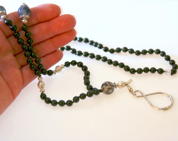 Silver and Black Hand-Knotted Eyeglass Necklace. Black Agate & Czech Glass Beads. Unique Figure-of-Eight Eyeglass Loop