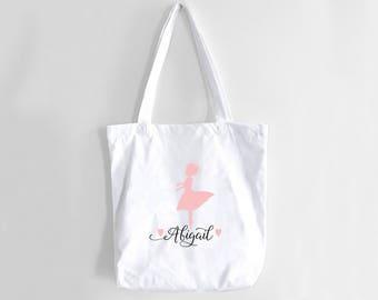 Dance Tote Bag Ballet Dancer Tote Dance Bag Custom Dance Tote Bag Personalized Girls Dance Bag Ballet Bag Tutu Bag Monogramed Dance Bag