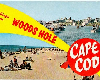 Vintage Cape Cod Postcard - Greetings from Woods Hole (Unused)