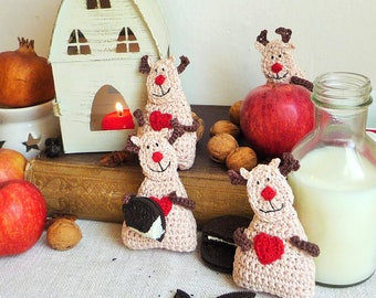 Christmas Ornament - Reindeer Ornament - Reindeer Decor - Kids Ornament - Crochet Ornament - Reindeer Gift - Everyday Gift - For Kids