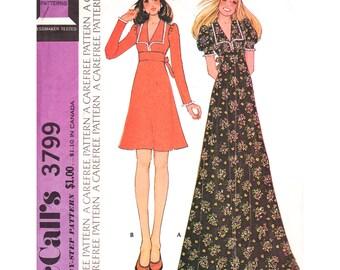 1970s Dress Pattern McCalls 3799 High Waist Maxi Dress Midriff Band Puff Sleeves or Long Sleeve Dress Collar Womens Sewing Pattern Bust 36