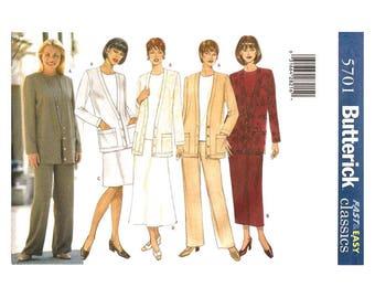 Plus Size Sewing Pattern Dress Cardigan Top Skirt Pants Butterick 5701 Size 20 22 24 Women Sewing Pattern UNCUT