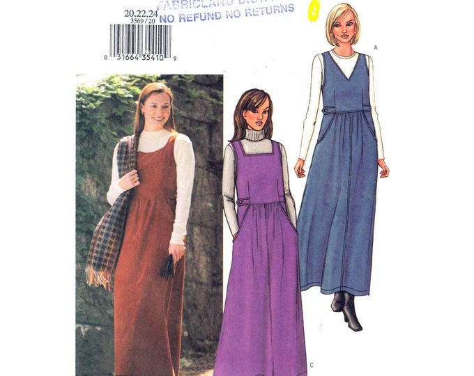 Womens Jumper Pattern Butterick 3569 Plus Size 20 22 24 Above Ankle Sleeveless Dress