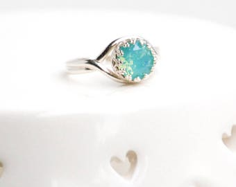 Opal Ring Pacific Opal Ring Sterling Silver Opal Ring Light Blue Aqua Gemstone Crown Ring Gift for Her Adjustable Boho Ring Girlfriend Ring