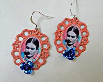 FRIDA kahlo Roses earrings mexico folk art latin fiesta Unique Design mexicana arte Colorful