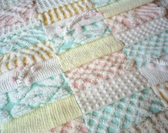 """Vintage Chenille Bedspread Squares -Pastels in Pink, Yellow and Aqua- 24-6"""" - PRETTY"""