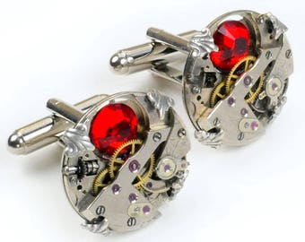 Steampunk Vintage Watch Movement and Ruby Crystal Turtle Prong Edge Cuff Links