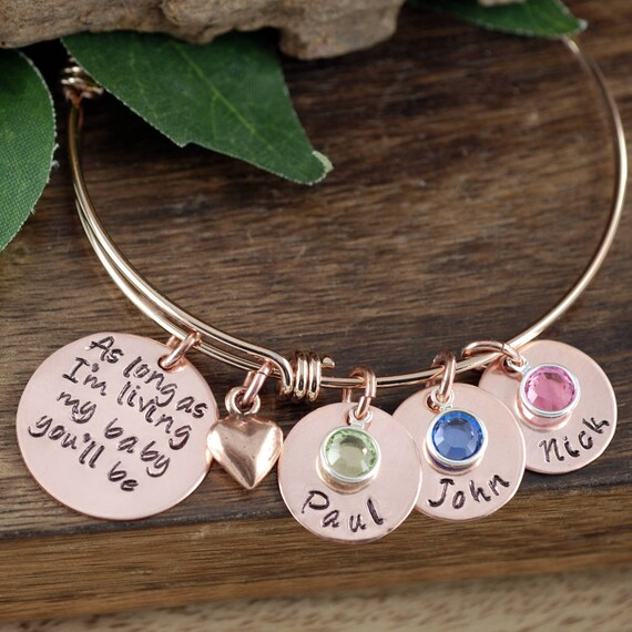 Personalized Bracelet, As long as I'm Living my Baby You'll be Copper Bracelet, Custom Bangle Bracelet, Signature Jewelry, Engraved Bracelet