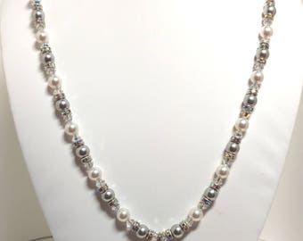 Pearl Necklace, Wedding Necklace, Swarovski, Bridal Necklace
