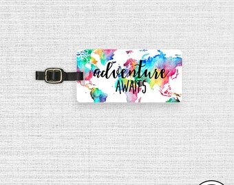 Luggage Tag Adventure Awaits Rainbow Watercolor Metal Luggage Tag  With Printed Custom Info On Back Single Tag