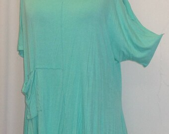 Coco Juan, Lagenlook, Womens Plus Size Top, Cold Shoulder, Rayon Knit Angled, Plus Size Tunic Top, Turquoise Green, One Size Bust 58 inches