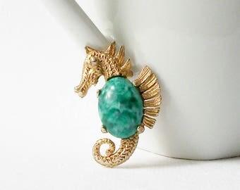 Vintage Sea Horse Brooch, Vintage Green Seahorse Brooch, Vintage Jewelry